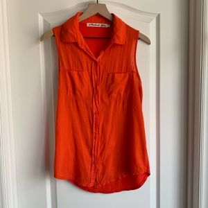 Michael Stars coral orange button up shirt size 1